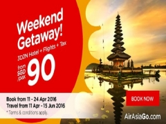 Weekend Getaway of 3D2N Hotel + Flight with AirAsiaGo from SGD 90