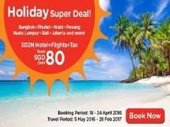 Holiday Super Deal from SGD80* with AirAsiaGo