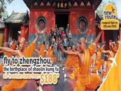 Fly to Zhengzhou from SGD188* via TigerAir and do some Shaolin Kung Fu