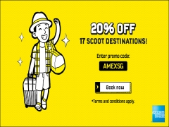 20% Off to 17 Scoot Destinations in Conjunction to AMEX Singapore