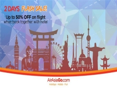 2 Days Flash Sale of Up to 50% Off on Flight when Book with Hotel via AirAsiaGo
