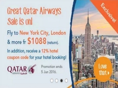 Great Qatar Airways Sale is on with Zuji from SGD1,088