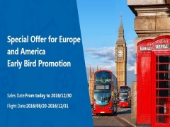 Early Bird Promotion to America and Europe with Air China
