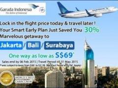 30% Marvelous Getaway to Jakarta, Bali, Surabaya with Garuda Indonesia. One way as low as S$69