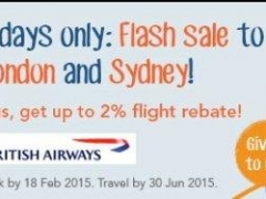 2-Day Flash Sale to London and Sydney! Plus, get up to 2% flight rebate!