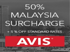 50% Malaysia Surcharge Plus 5% Off Car Rental with Avis