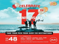 Celebrating 17 years with low fares from base fare SGD0.17*