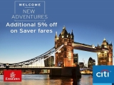 Additional 5% Off Airfares in Emirates with Citibank