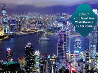 25% Off & 3rd Guest Free on World Dream for 19 Apr