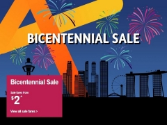 Bicentennial Sale in Jetstar with Base Fares from SGD2