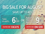 Big Sale for August in Hotels.com with up to 40% Savings